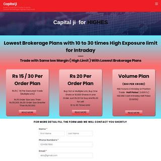 Low Brokerage High Exposure - Best Online Broker In India - Capital ji