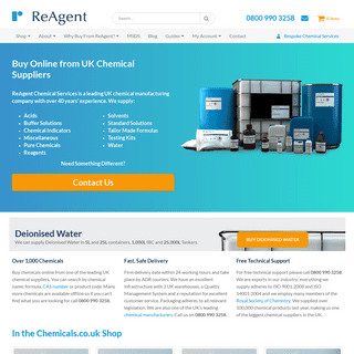 Chemical Suppliers - Buy Chemicals Online from Leading UK Manufacturer ReAgent