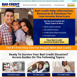 Bad Credit Survival Guide Home