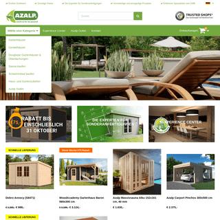 Gartenhäuser, Gerätehäuser, Gartenartikel, Sauna und Schwimmbäder können online bei Azalp bestellt werden