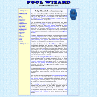 Swimming pool maintenance, pool information and pool problems - POOL WIZARD