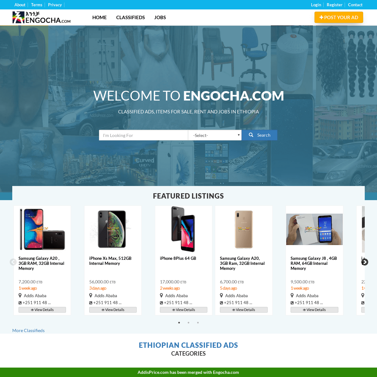 Engocha.com - Ethiopian Classified Ads, Jobs Vacancies, Online Shopping and News