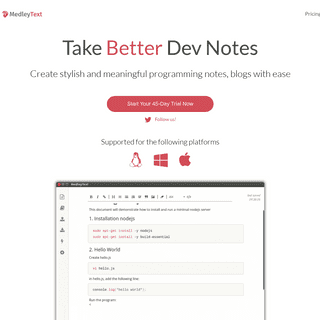 MedleyText - Take programming notes with style
