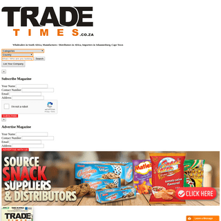 ArchiveBay.com - tradetimes.co.za - Wholesalers in South Africa, Manufactures - Distributors in Africa, Importers in Johannesburg, Cape Town