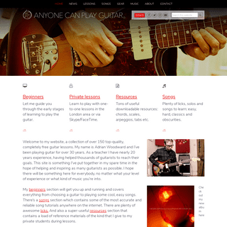 Free online guitar lessons and private tuition - Anyone Can Play Guitar