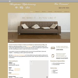 Brighouse Upholstering & Mfg. - Custom Furniture Richmond - Home