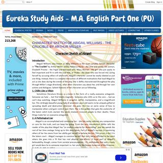Eureka Study Aids - M.A. English Part One (PU)