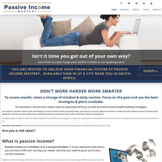 Passive Income Mastery Workshops throughout South Africa