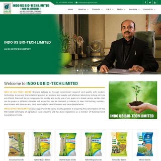 INDO US BIO-TECH LIMITED Provides Hybrid Vegetable Seeds, Cotton Seeds, Oil Seeds, Spices Seeds, Pulses Seeds and Cereals Seeds