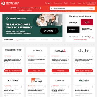 Kody rabatowe, promocyjne, najnowsze gazetki reklamowe i darmowa dostawa ⇒ AleRabat.com