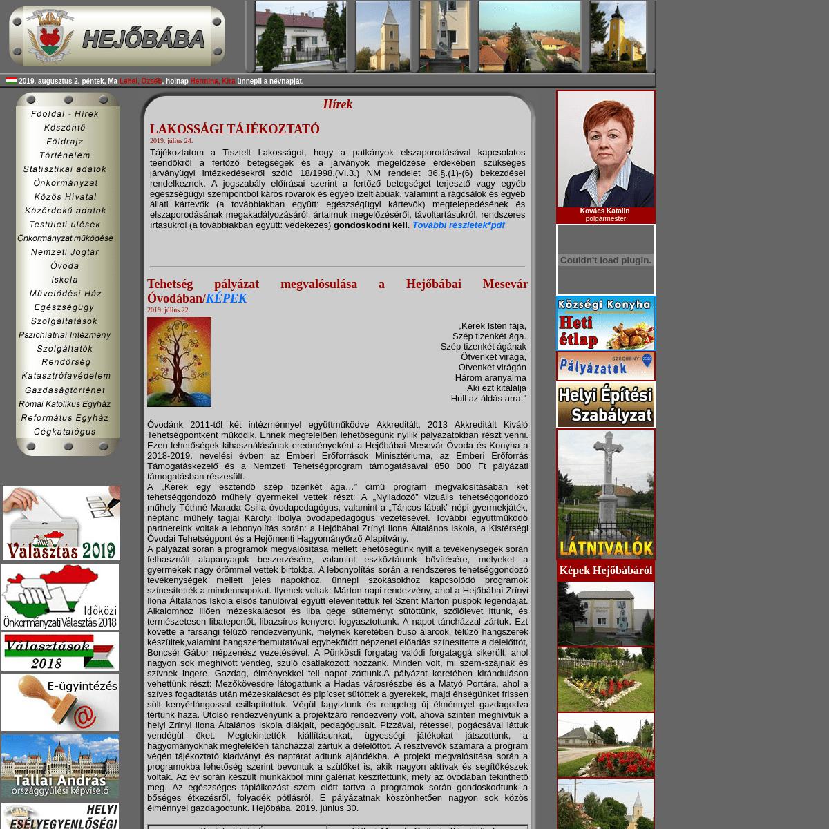 Hejőbába Község honlapja