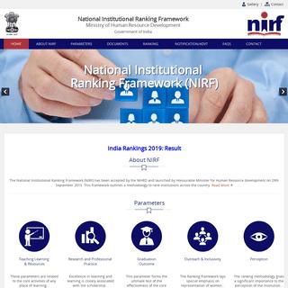 MHRD, National Institute Ranking Framework (NIRF)