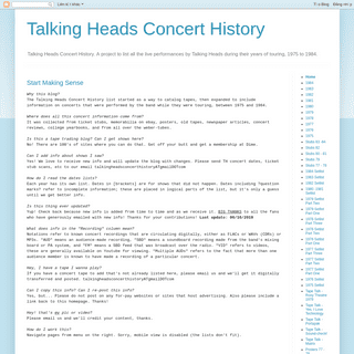 Talking Heads Concert History