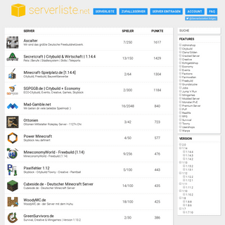 serverliste.net - Minecraft Serverliste