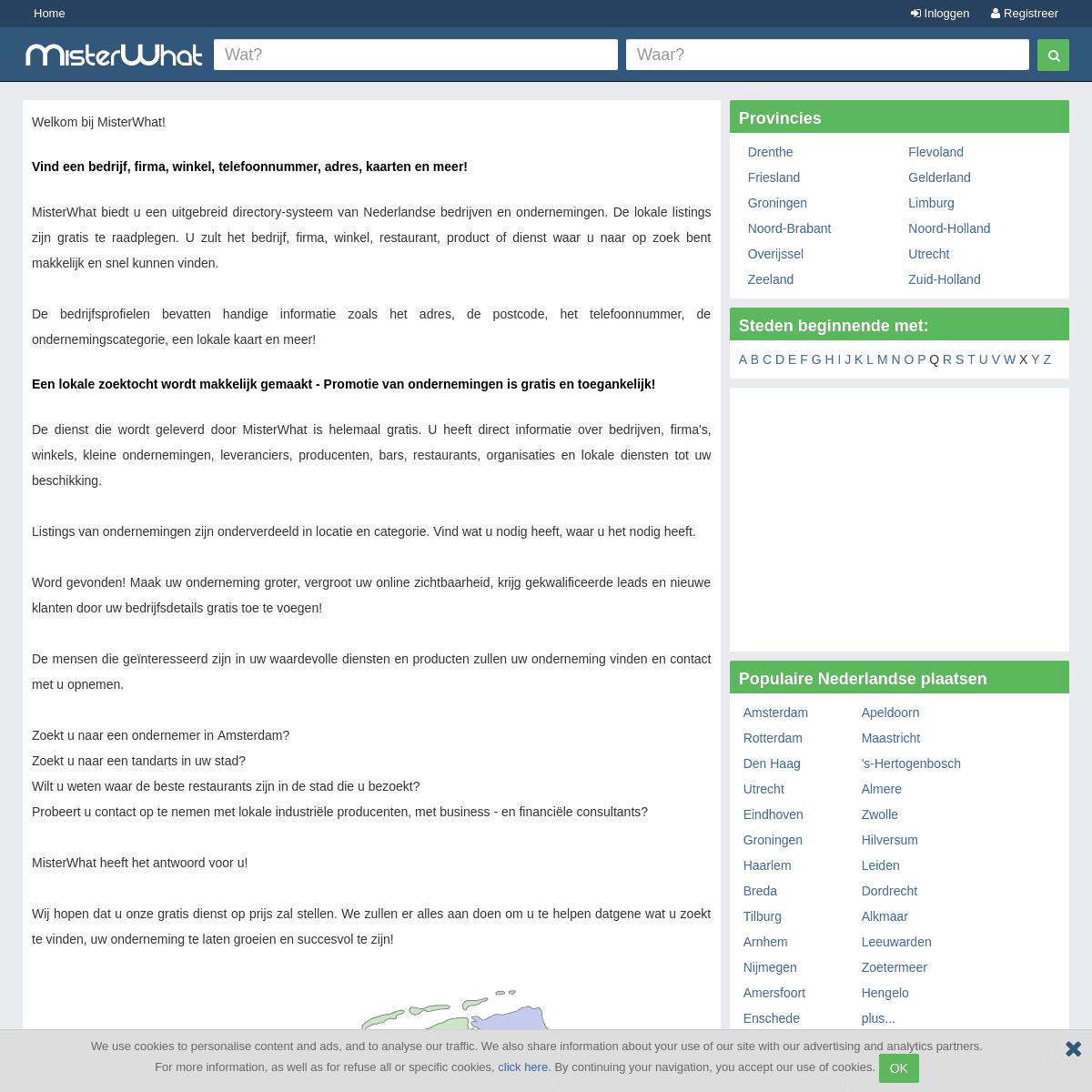 Directory-systeem voor kleine Nederlandse Ondernemingen - Vind Lokale Nederlandse Bedrijven, Firma's, Winkels en meer - MisterWh