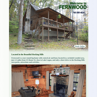 Fernwood Log Cabin - Located in the Hocking Hills