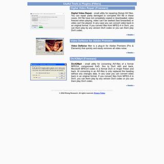 Rising Research - Freeware to Repair-Fix-Convert Avi and Video DeNoise Plugins