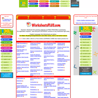 WorksheetsPLUS - FREE printable worksheets, teacher resources and more!