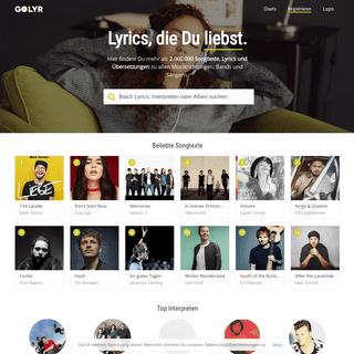 Kostenlose Songtexte, Lyrics & Songtext Übersetzungen - Golyr.de