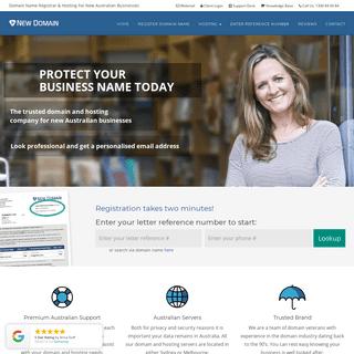 New Domain – Domain registration for new Australian businesses