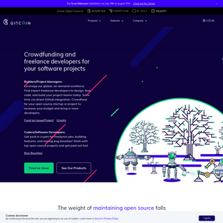 Grow Open Source- Get crowdfunding and find freelance developers for your software projects, paid in crypto - Gitcoin