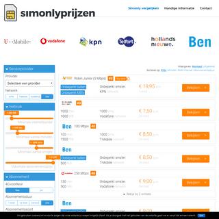 Simonlyprijzen.nl - Sim Only Prijzen Vergelijken