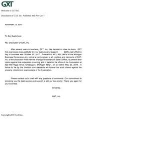 Automotive Diagnostics Supplier GXT, Inc. Automotive Service Equipment Aftermarket
