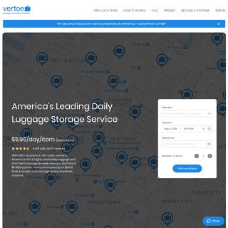 Vertoe - Luggage Storage Near You - All Over USA @ $5.95-day