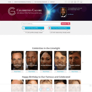 Celebrities Galore -- Free Personality and Relationship Profiling