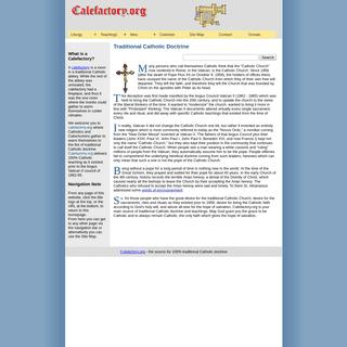 Calefactory.org - Traditional Catholic Doctrine