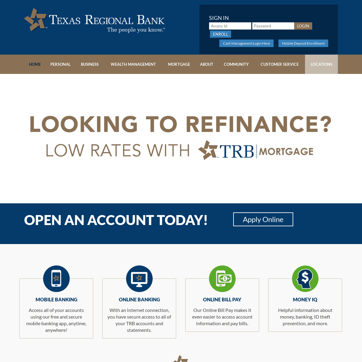 texas bank and trust online banking