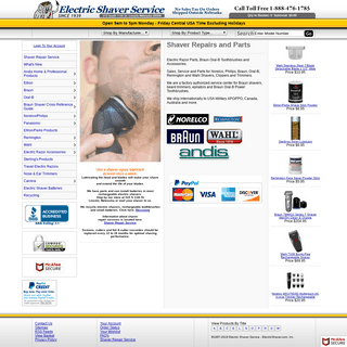 Electric Shaver Service, Electric Shaver Repair and Parts Since 1939 for Braun, Norelco-Philips, Remington, Wahl, Grundig, Panas
