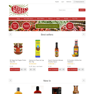ChilliWorld.com. Hot chilli sauces, chilli pickles, dried chillies, super-hot additives and all things chilli related.