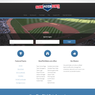 SlowPitchStats Home - Manage your softball team stats online!