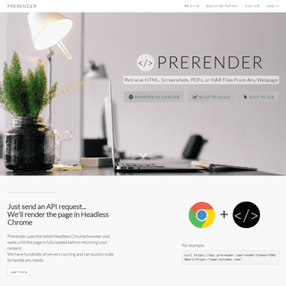ArchiveBay.com - prerender.com - Prerender.com - Headless Chrome In The Cloud to Render HTML, Screenshots, PDFs, and HAR Files