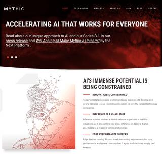 Mythic – Accelerating AI