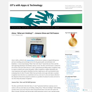 OT's with Apps & Technology - The OT eTool Kit resource – review of apps and other technologies for OT's working with children