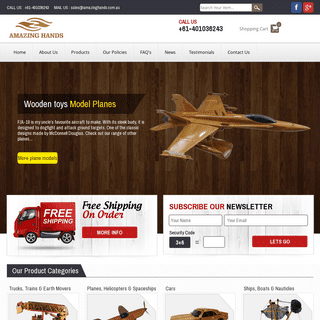 Amazing Hands - Wooden model toys and gift items, cars, planes, motor bikes and wooden boxes