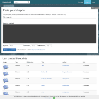 BlueprintUE.com - PasteBin For Unreal Engine 4