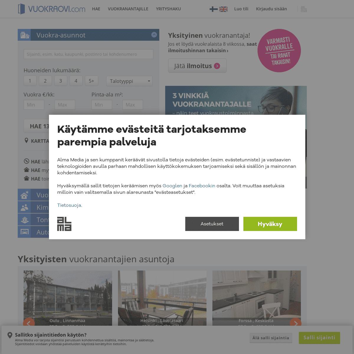 Vuokrattavat asunnot ja asuntovuokraus - Vuokraovi.com