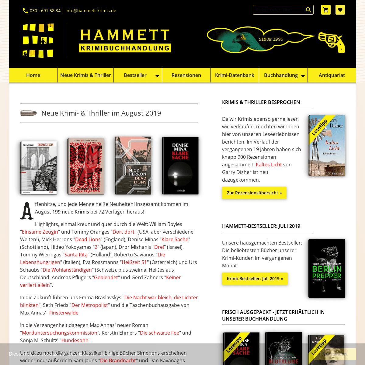 Hammett-Krimibuchhandlung Berlin- Neue Krimis und Thriller, Krimi-Antiquariat