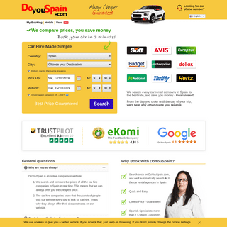 Spain Car Hire from £2 day - 100- Lowest Price Guaranteed!