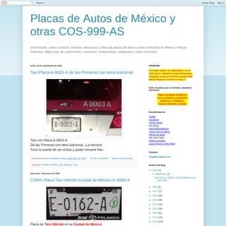 Placas de Autos de México y otras COS-999-AS