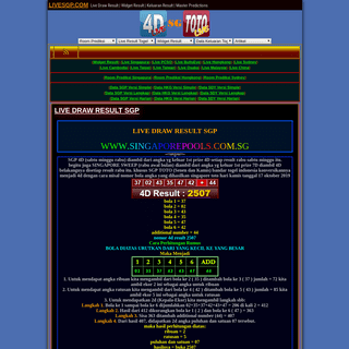 LIVESGP.COM - Live Draw Result - Widget Result - Keluaran Result - Master Predictions