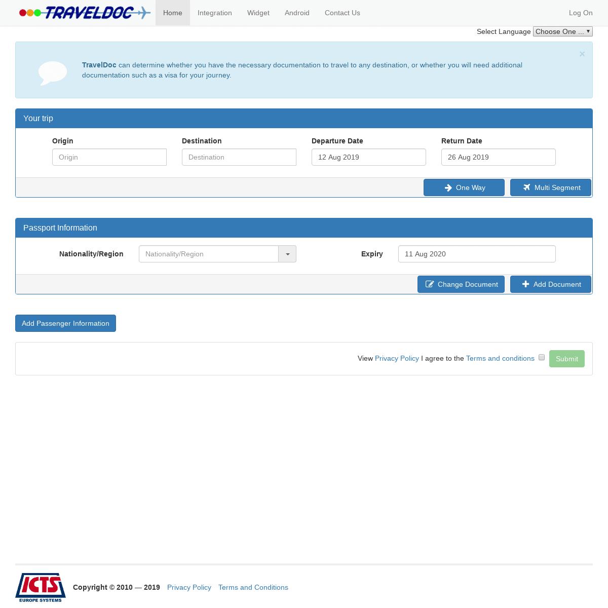 TravelDoc - Passenger Check