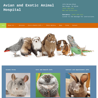 Avian and Exotic Animal Hospital in San Diego specialized in treatment of birds, rabbits, reptiles, small companion animals, wil