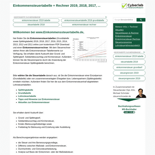 Einkommensteuertabelle 2019, 2018, ... + Steuerrechner