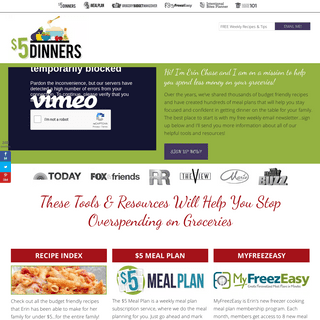 $5 Dinners - Recipes, Meal Plans, Coupons – Feeding the Family for $5 or Less