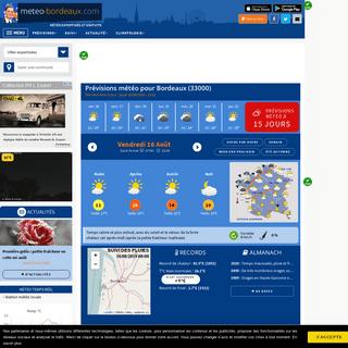 Météo Bordeaux (33000 - FR) - 1er site météo pour Bordeaux et le Nord de l'Aquitaine - previsions gratuites à 15 jours