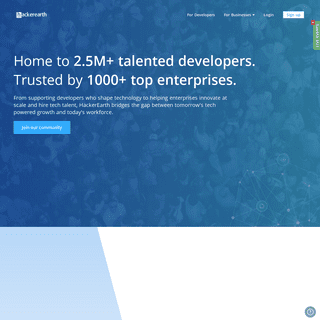 Trusted by recruiters across 1,000+ companies. Loved by 2.5M+ developers - HackerEarth
